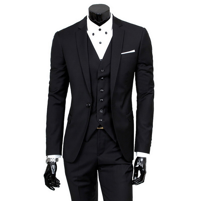 (Jacket+Pant+Vest) Slim Suit Male Spring Autumn Thin Section High-end Business Suit 2019 Jacket Pants Suits Wedding Men Blazers