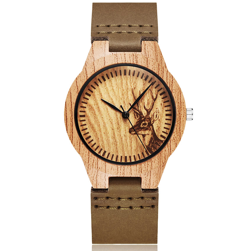 Animal Deer Imitation Wood Watch Men Women Couple Wristwatch Imitate Wooden Watches Acrylic Man Male Quartz Wrist Clock Reloj