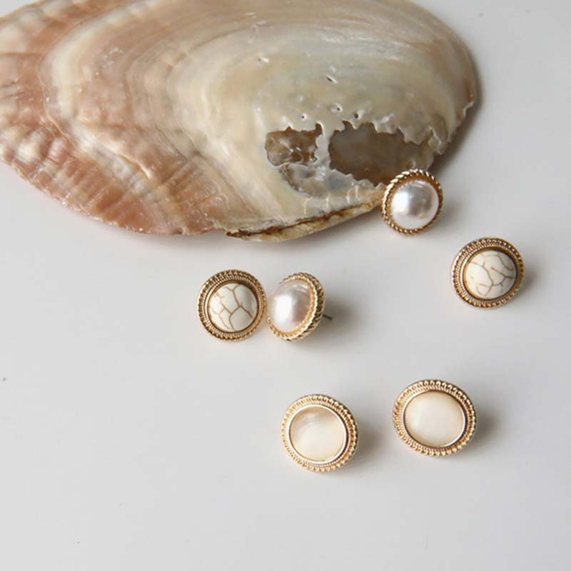 Vintage Round Marble Opal Stone Big Stud Earrings New Japanese and Korean Chic Exquisite Pearl Charm Emperament Jewelry