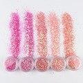 1 банка/коробка, блестки для ногтей, розовая серия