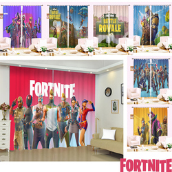 Kid Bedroom Curtain Fortnites Window Curtains 3D Cartoon Printed Curtain Game Anime Hangings for Living Room Office Home Decor