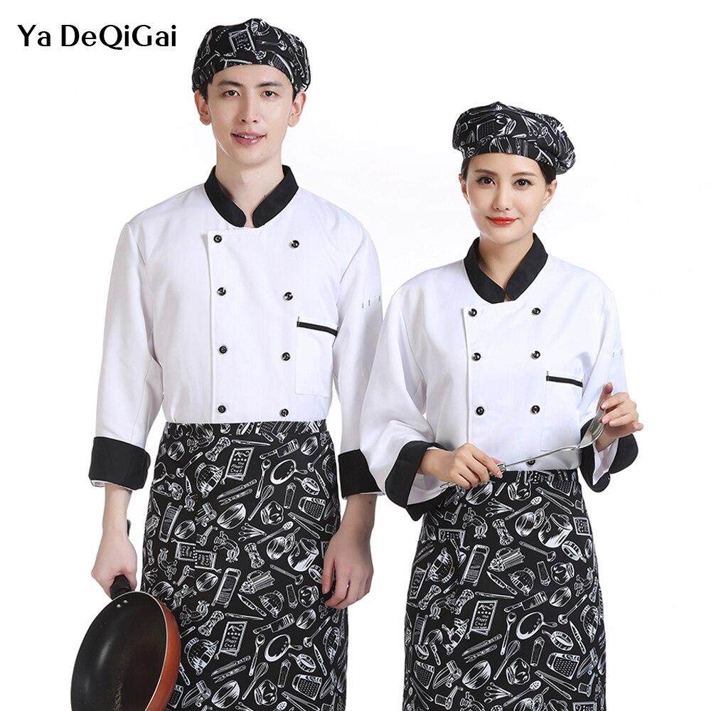 Unisex Long-sleeved Shirt Work Clothes Hot Pot Restaurant Buffet Chef Coat Casual Soft Kitchen Jacket Food Service Men's Jacket