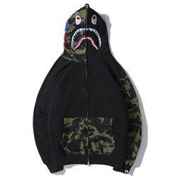 Europa En Amerika Populaire Merk Classic Cool Shark Geborduurde Camouflage Gezamenlijke Mouw Joint Pocket Rits Plus Fluwelen Hoodie C