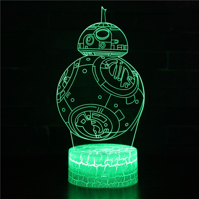 2019 NEW 3D Lamp Death Star War R2D2 BB-8 Darth Vader Knight LED Baby Lava Table NIGHT LIGHT Cartoon Toy Luminaria Kids Gift
