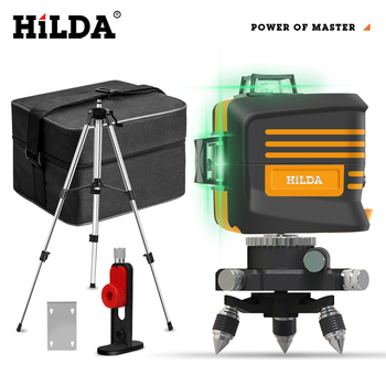 HILDA 12 Lines 3D Level  Laser Level 360 Horizontal And Vertical Cross Super Powerful Green Auto Self-Leveling 12 lines 3d waterproof laser level self leveling 360 degrees rechargeable battery horizontal vertical cross green laser