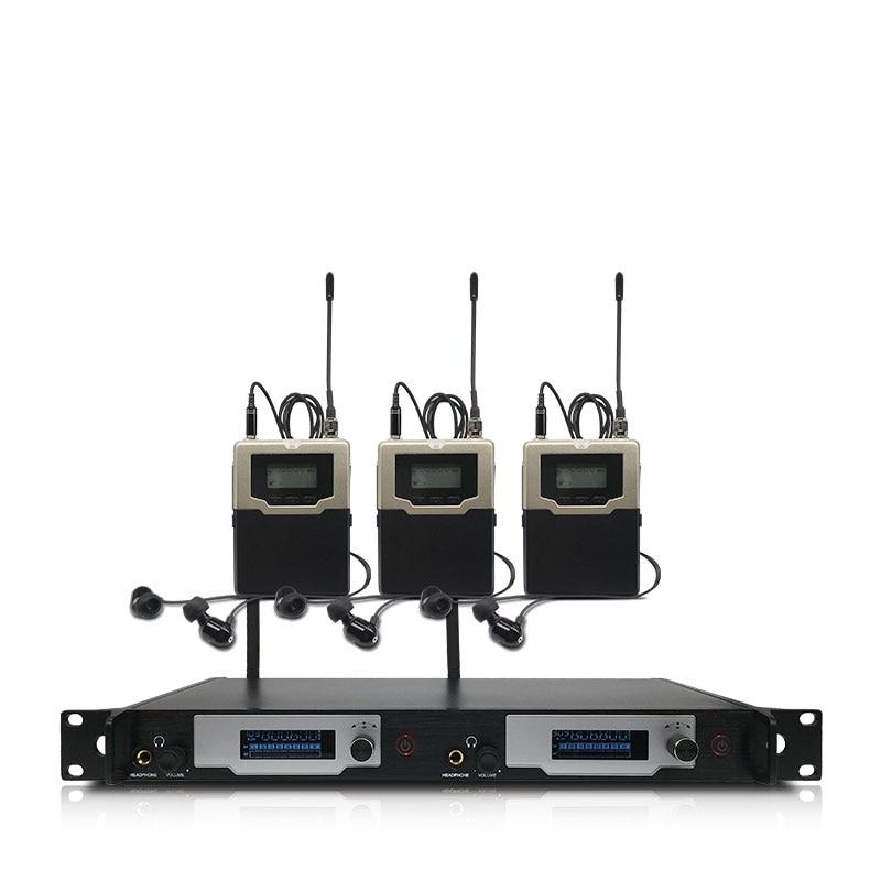 Professionelle wireless in-ear monitoring system 2-kanal 3-bodypack monitor mit in-ear drahtlose überwachung typ für bühne