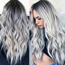 Peluca de fibra química de pelo rizado largo para mujer, degradado gris, Cosplay, pelo sintético resistente al calor