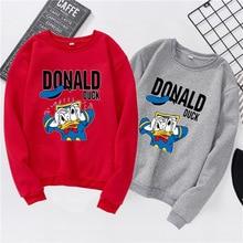 Fashion Women shirts Autumn Spring Streetwear Cartoon Donald Duck shirt Long Sleeve T-shirt for women Couple S-XXXL