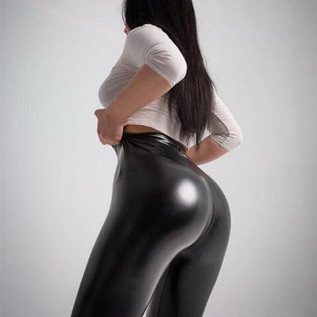 Winter Women Black PU Leather Leggings  Skinny Push Up High Waist Leggings Elastic Trousers Stretch Plus Size Leggings 5xl 1