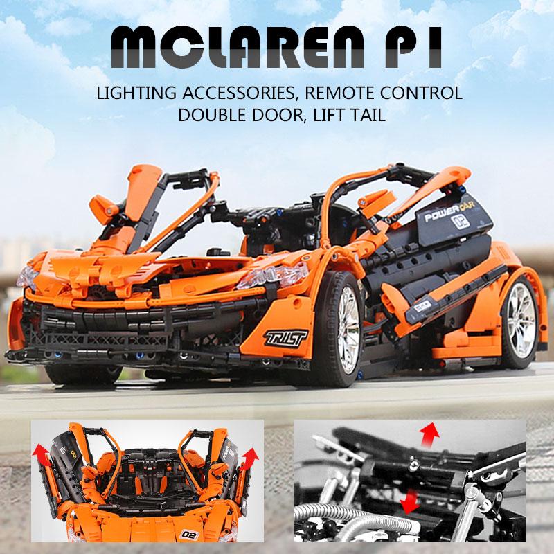 1 to 8 ratio 13090 Technic Series McLaren P1 Orange Racing Car Set APP RC Model Building Blocks Power Motor Function Toys 20087 2