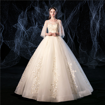 Cheap Ball Gowns Flare Sleeve Sexy Sweet Champagne Tulle Wedding Dresses 2020 Vestido De Novia Lace embroidery Bridal Marriage