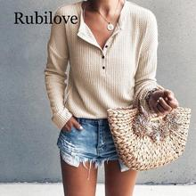 Rubilove T Shirt Women Long Sleeve Womens Tops Spring Autumn Buttons Slim Rib Knitted Tee Femme Plus Size Tshirt