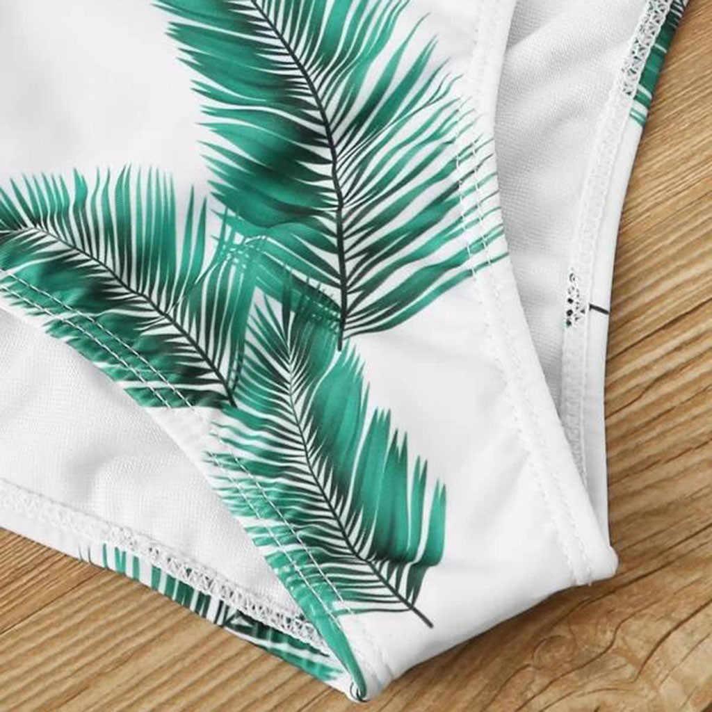 Femmes maillot de bain été Sexy deux pièces Bikini ensemble feuilles imprimer Push-up rembourré soutien-gorge Monokini maillots de bain 2020 maillots de bain Biquini