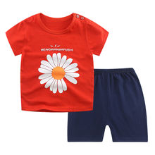 Летние комплекты одежды для мальчиков и девочек из хлопка с