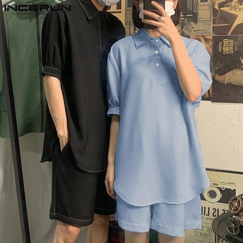 Summer Fashion Men Sets Solid Short Sleeve Lapel Shirt Loose Casual Shorts Korean Men Suit Streetwear 2 Piece Sets 2020 INCERUN