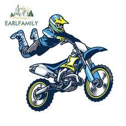 EARLFAMILY 13cm x 12.1cm for Motocross Rider Doing Trick Decal Vinyl Car Sticker 3D Funny Anime Motorcycle Car Bumper