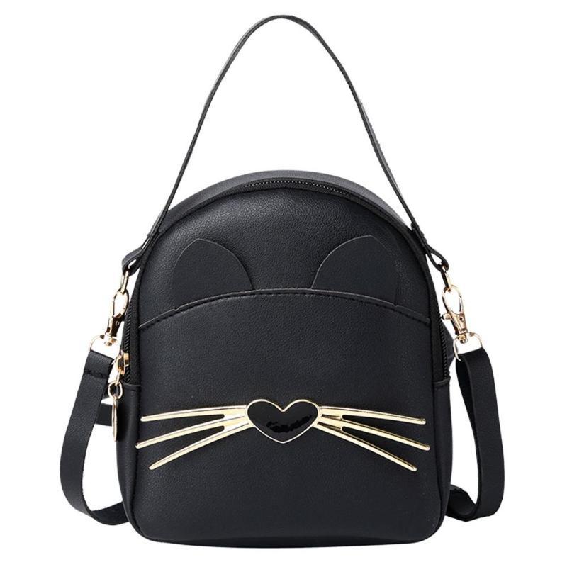 Women PU Leather Mini Crossbody Backpack Cartoon Print Cute Cat Korean Shoulder Backpack Girls Small Daily Purse