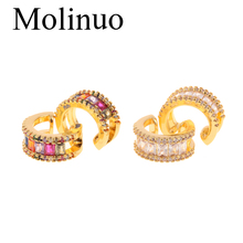 Molinuo new simple rainbow cz circle earrings gold no perforation popular female clip 2019