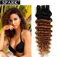 Extensiones de cabello humano ondulado, brasileño, Ombre, tres tonos, 10-26 pulgadas, 1/3/4 manojos, cabello Remy tejido 1B/30
