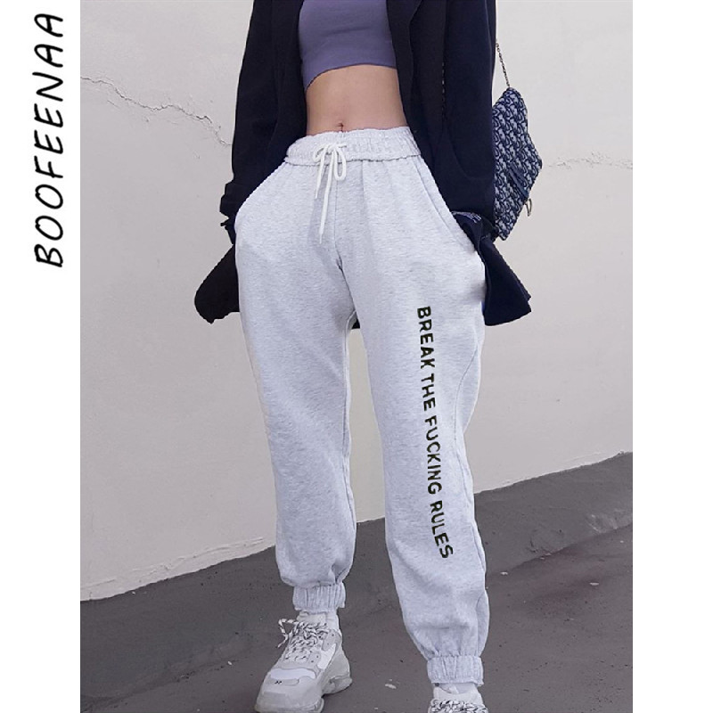 BOOFEENAA Letters Printed Drawstring High Waist Sweatpants Joggers Women Streetwear Slogan Hip Hop Casual Trousers C87-AH29
