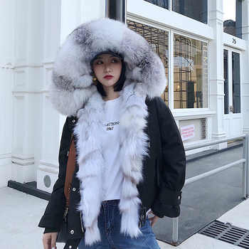women new parkas real fox fur hoody collar liner 100% genuine army green coat genuine fur jacket warm thick female winter cloth - DISCOUNT ITEM  53 OFF Women\'s Clothing