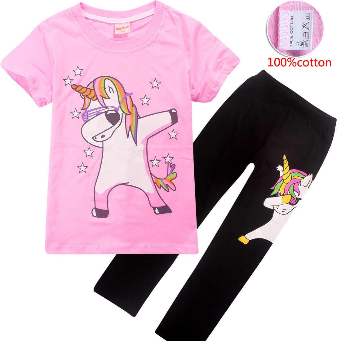 ชุดนอนเด็กหญิง 2019 เสื้อผ้าเด็กฤดูร้อนยูนิคอร์นชุดนอน Jojo Siwa Pijamas ยูนิคอร์นชุดนอนสัตว์ pijama 4-12y