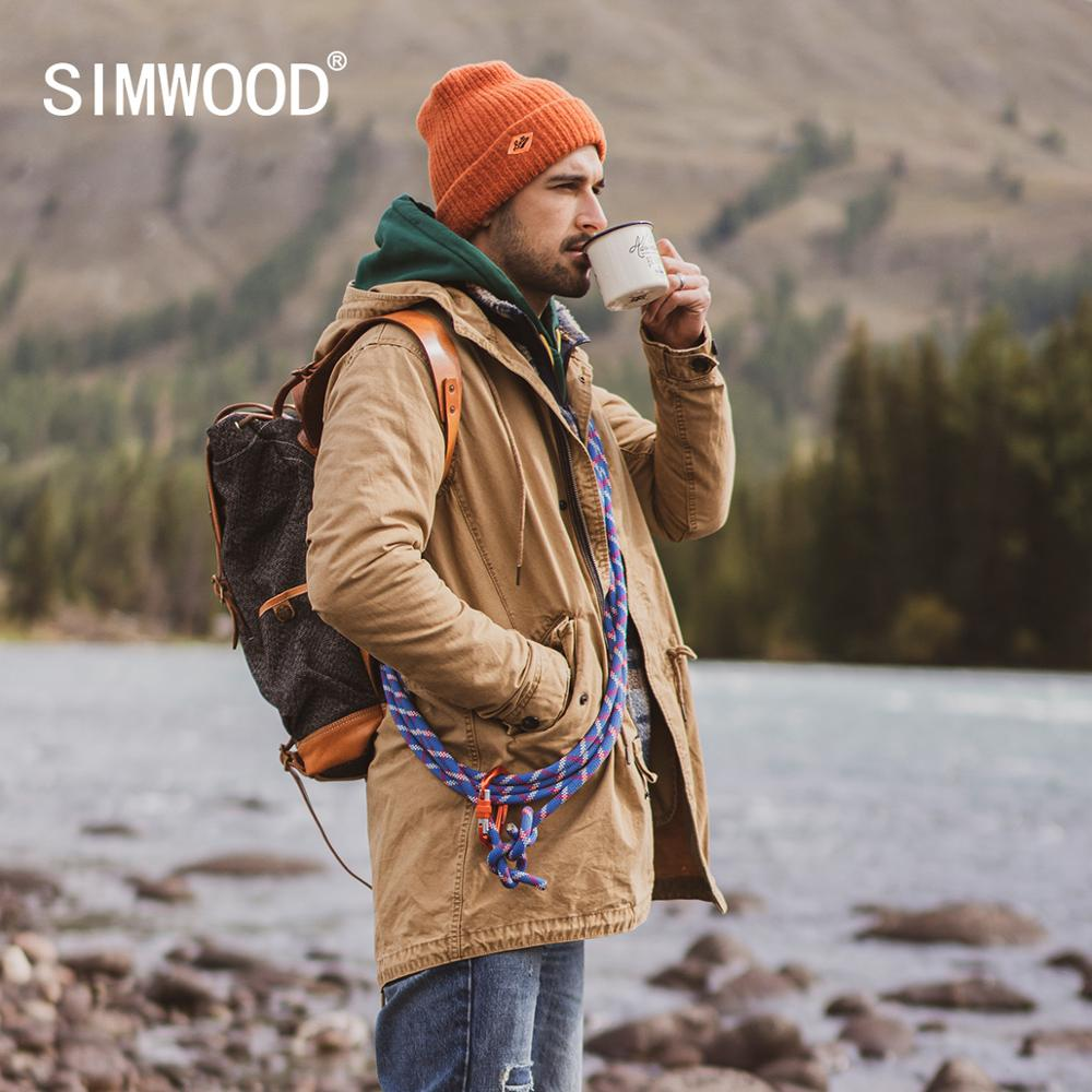 SIMWOOD 2019 Autumn New Long Jackets Men Vintage Washed Hooded High Quality Cargo Jacket Coats Plus Size Brand Clothes SI980590
