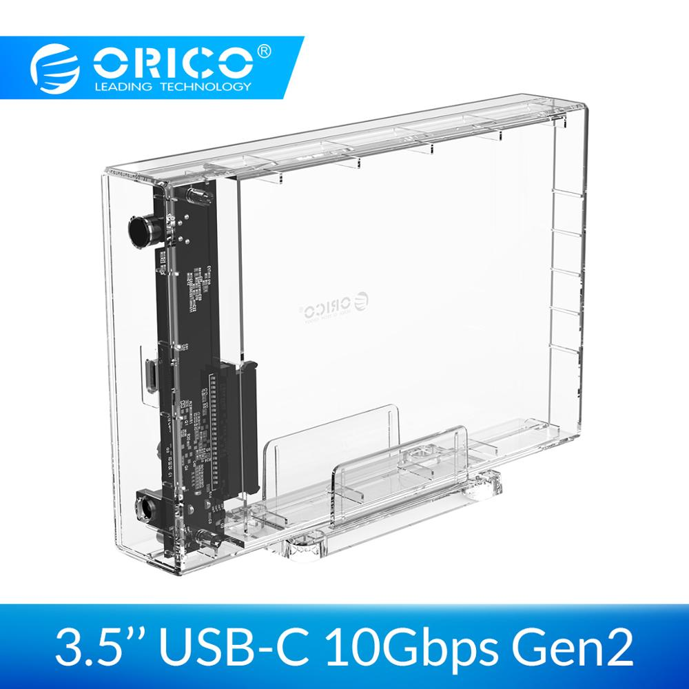ORICO 3.5 Inch HDD Enclosure USB 3.1 Type C 10Gbps Transparent HDD Case SATA To USB C Transparent HDD Docking Station