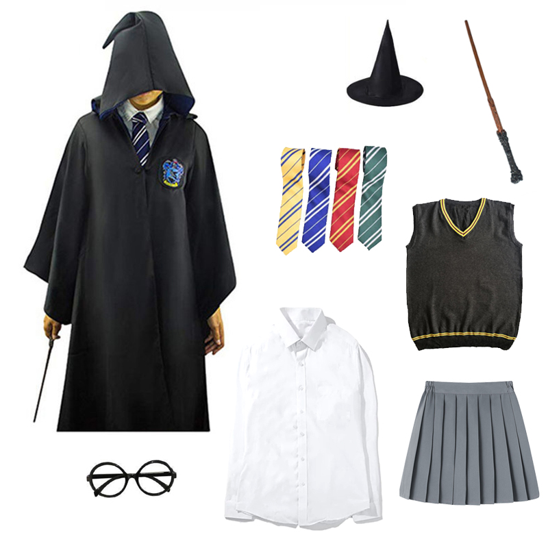 Potter Cosplay Costume Adult Kids Tie Wand Costume Hermione Granger Costume Halloween Party Gryffindor Robe Cosplay Gift Boy