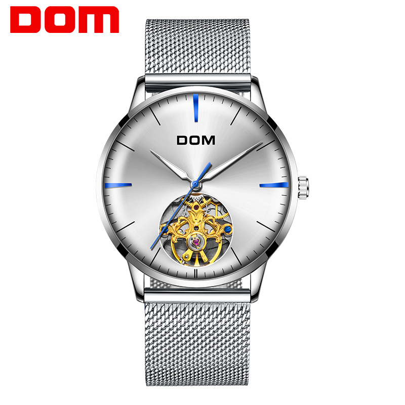 DOM Men Tourbillon Automatic Mechanical Watch Luxury Fashion Casual Brand Steel Men Sliver Watches RelogioMasculino sport watch