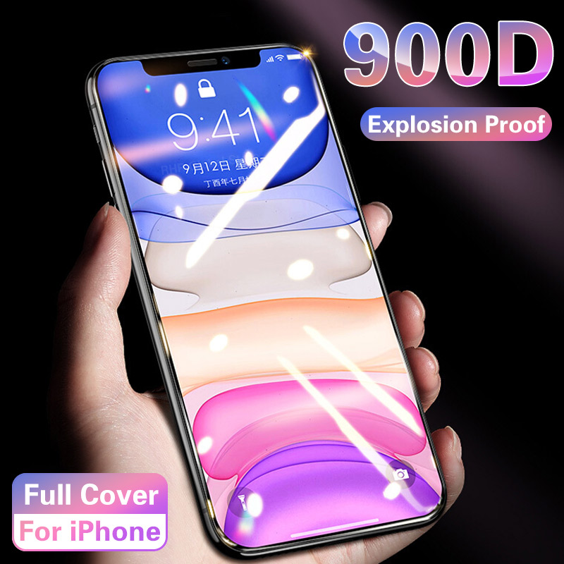900D Full Cover Tempered Glass For IPhone 11 Pro Max Screen Protector On 6 7 8 Plus Soft Edge For IPhone X XS XR Protective Film