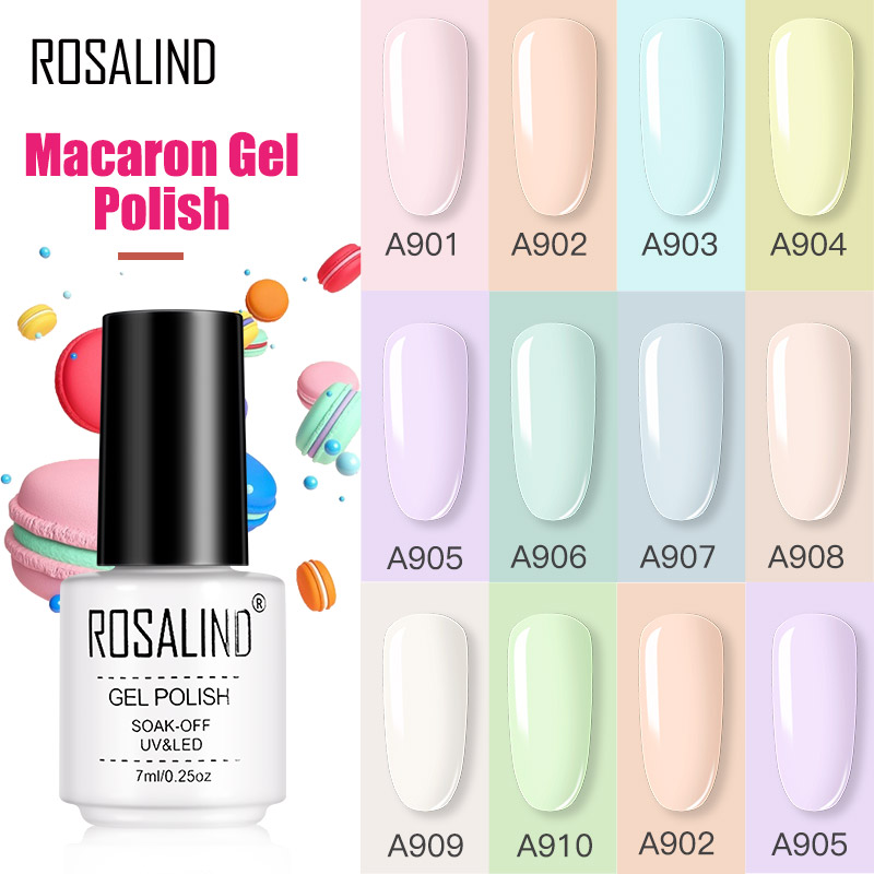 ROSALIND Gel Varnishes Gel Nail Polish For Manicure Varnish Hybrid Semi Permanent Top Base Of Nails Macaron Gel Polish(China)