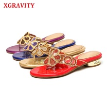 XGRAVITY 2021 Summer Shoes Elegant Rhinestone Lady Fashion Slippers Flower Design Crystal Woman Shoes Flip Flop Sandals Female