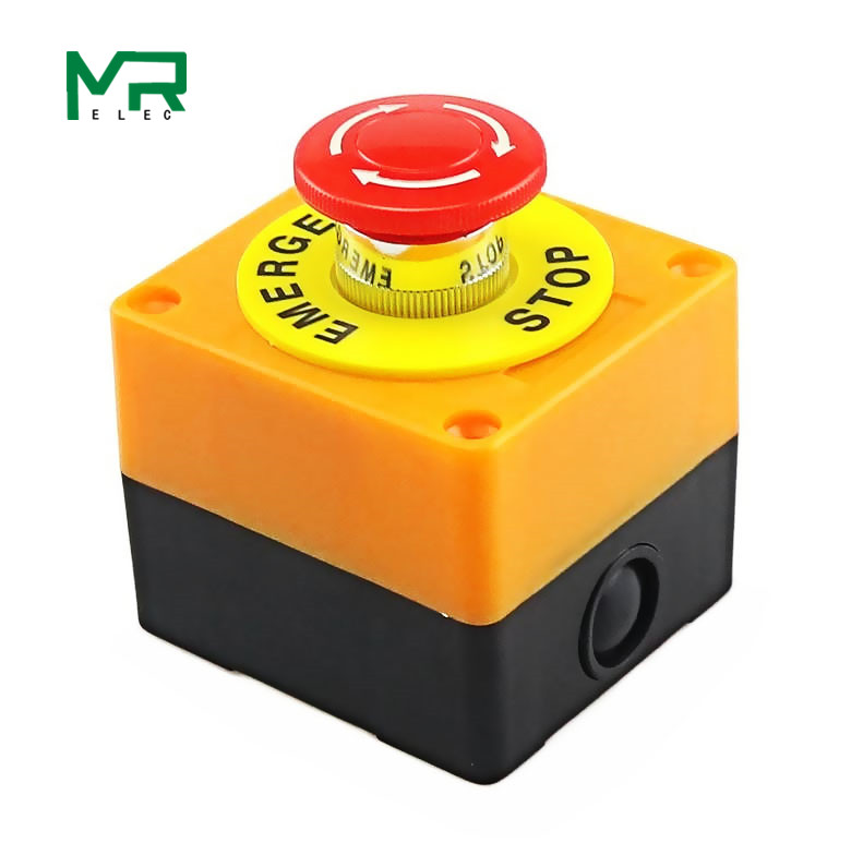 1PCS Kunststoff Shell Rot Zeichen Push Button Switch DPST Mushroom Not Taste SwitchAC 660V 10A KEINE + NC LAY37-11ZS