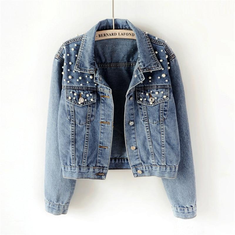 Women's New Fashion Plus Size Beading Short Denim Jackets Women Wash Long Sleeve Vintage Casual Jean Jacket Denim Coat