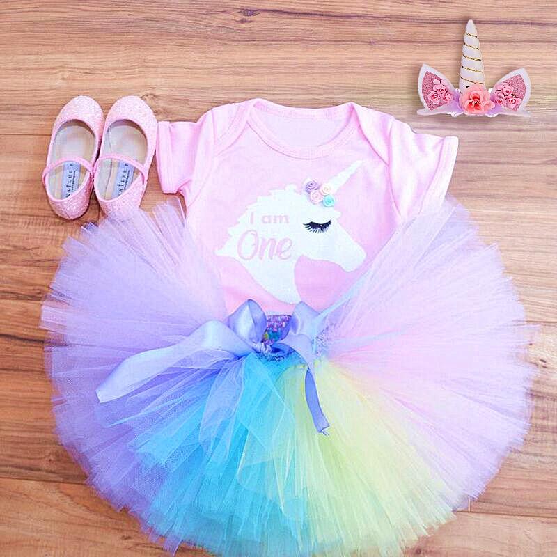 1 ano menina do bebê vestido de aniversário unicórnio festa tutu vestido da criança do bebê meninas roupas primeiro aniversário infantil vestidos