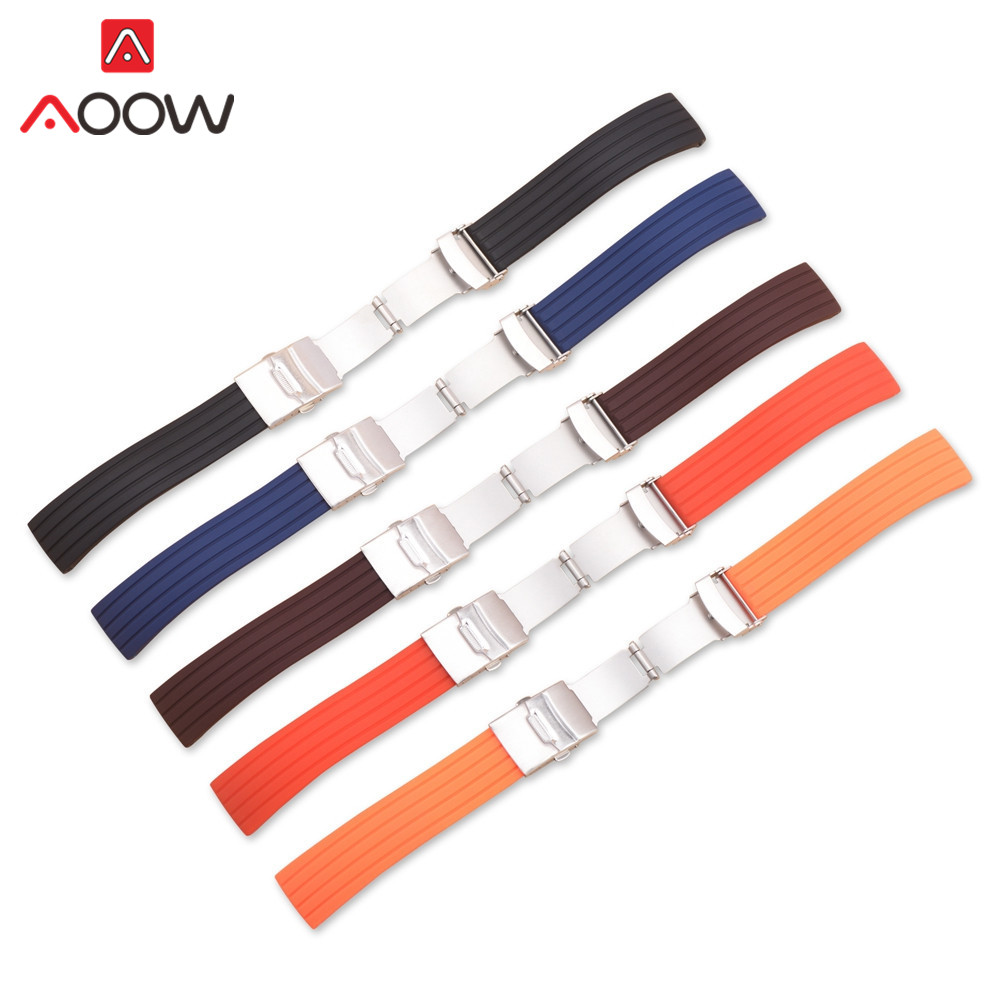 AOOW Soft <font><b>Silicone</b></font> Universal <font><b>Band</b></font> Sport Waterproof Rubber Stainless Steel Buckle Strap <font><b>Bracelet</b></font> Watchband 16 18 <font><b>20mm</b></font> 22mm 24mm image