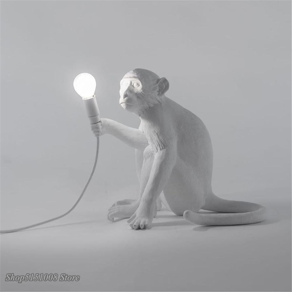 Seletti preto moderno macaco lâmpada corda de cânhamo luzes pingente país da américa resina loft industrial pendurado luminária decoração para casa - 4