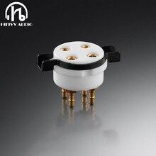 EIZZ 4 pin rohr halter keramik gold überzogene bipolar PCB buchse rohr 300B 5Z3 2A3 upgrade Rohr power Amplifiier