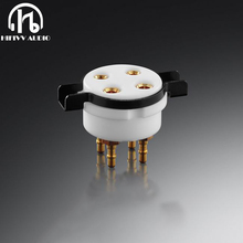 EIZZ 4 pin tube holder ceramic gold plated bipolar PCB socket tube 300B 5Z3 2A3 upgrade Tube power Amplifiier