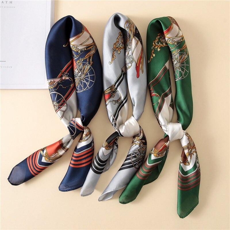 Luxury Kerchief Silk Satin Hair Scarf For Women Fashion Print Bandana Head Scarfs 70cm Square Headband Neck Scarves For Ladies