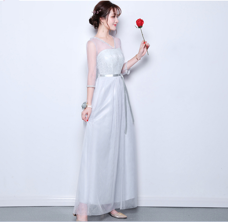 Gray Bridesmaid Dress Junior Elegant Dress Women For Wedding Party Vestido Largo Sirena Sexy Long Prom Dress Champagne Tulle