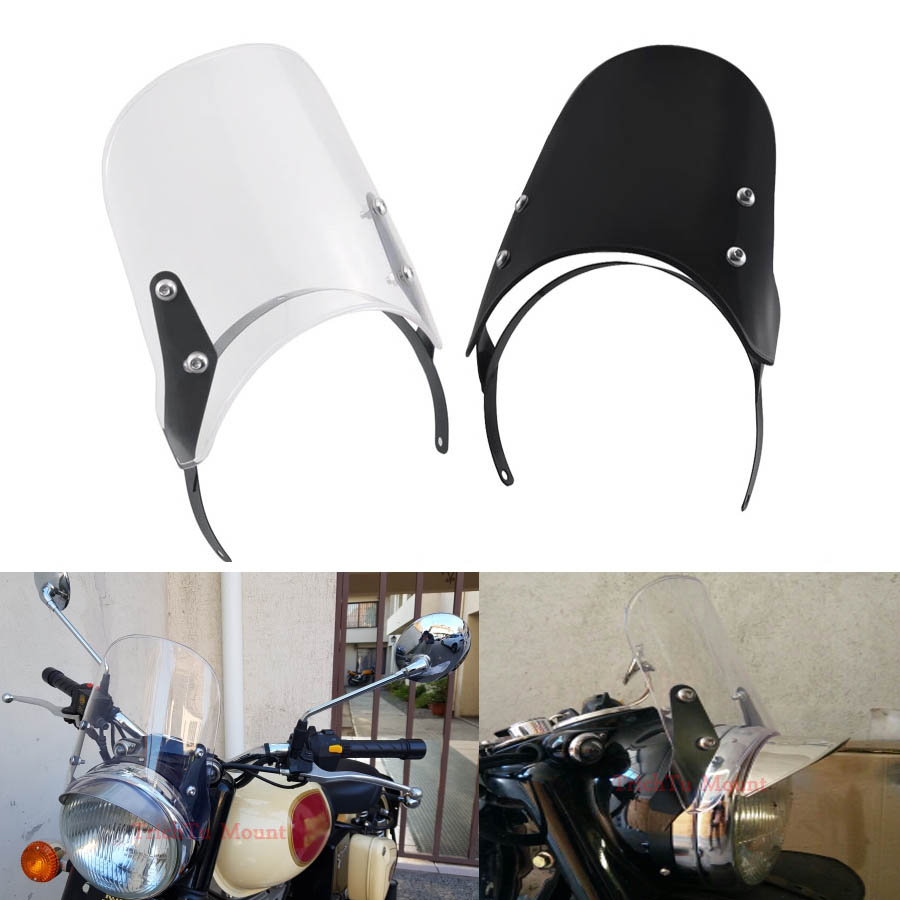 black Motorcycle Clear//Black Headlight Fairing Windshield Windscreen For Royal Enfield Classic 500cc