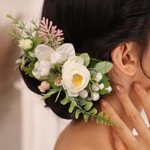 Flower-Hair-Comb Headdress Hair-Accessories Wedding Bridal Leaf White for Women Classic