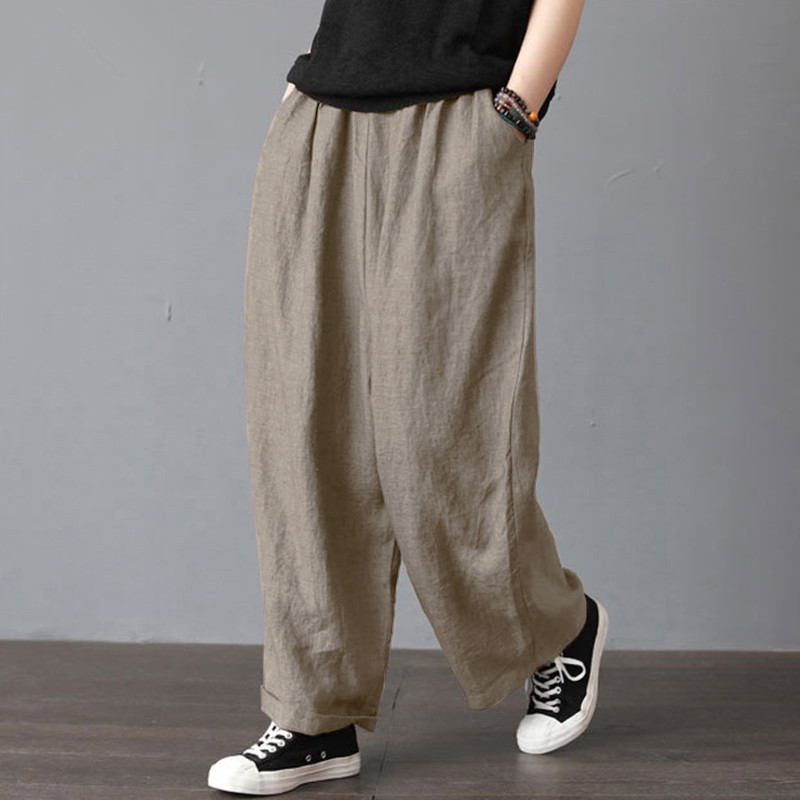 2020 Autumn Solid Long Wide Leg Pants For Women Casual Trousers Calcas Feminina Loose Streetwear With Pockets Pantalon Mujer