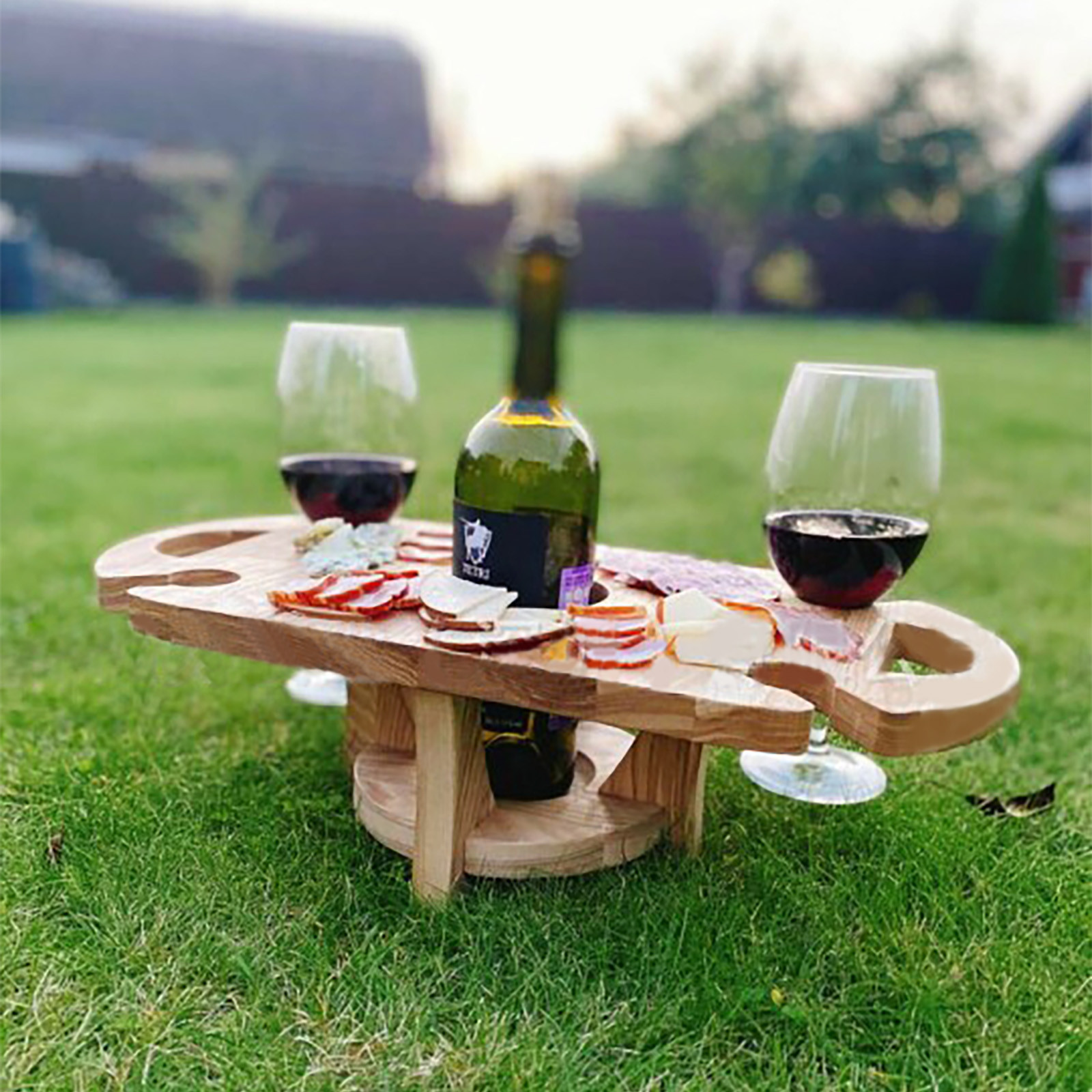 Handmade Wooden Collapsible Picnic Table Outdoor Wine Table Portable Detachable Folding Fruit Table Wine Rack EntertainmentTable
