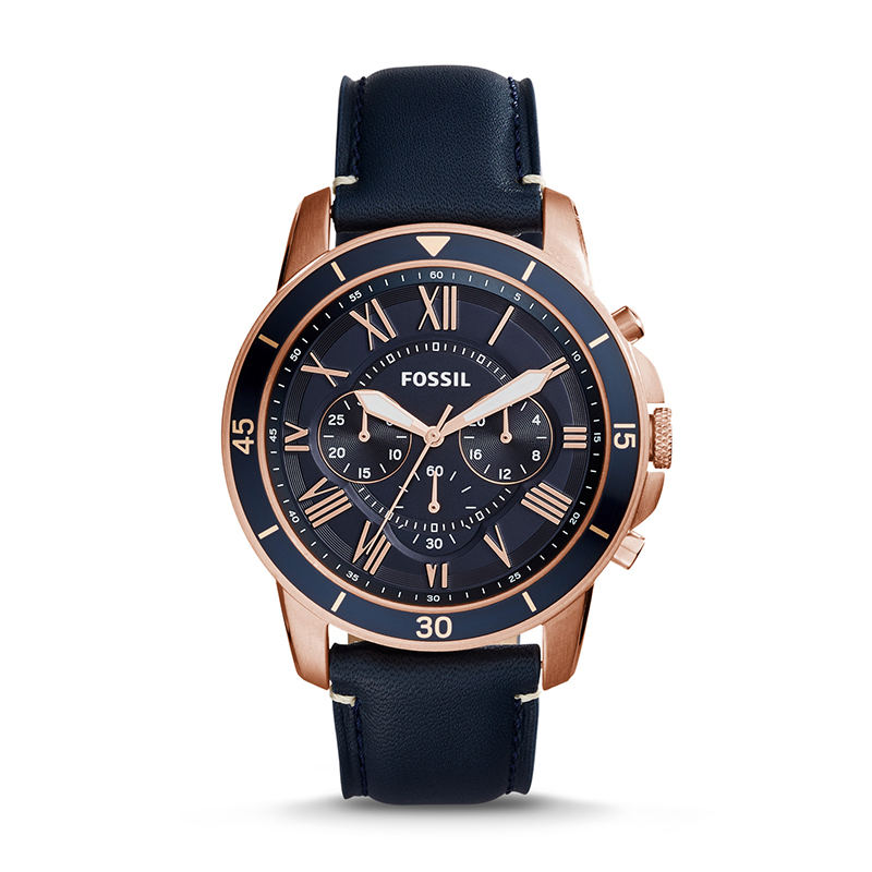 Fossil Grant Sport Watch Blue Dial Men's Chronograph Watch Stainless Steel and Leather Quartz Watch FS5237