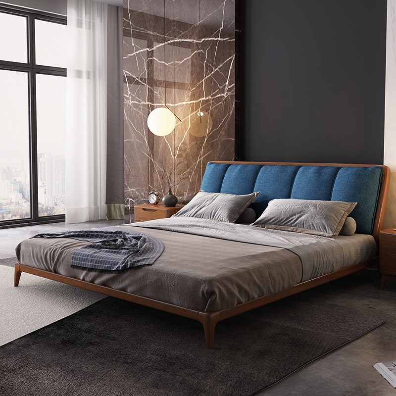 New Style Light Luxury Northern European-Style Solid Wood Bed 1.5m 1.8 M Modern Minimalist Master Bedroom Northern European-Styl