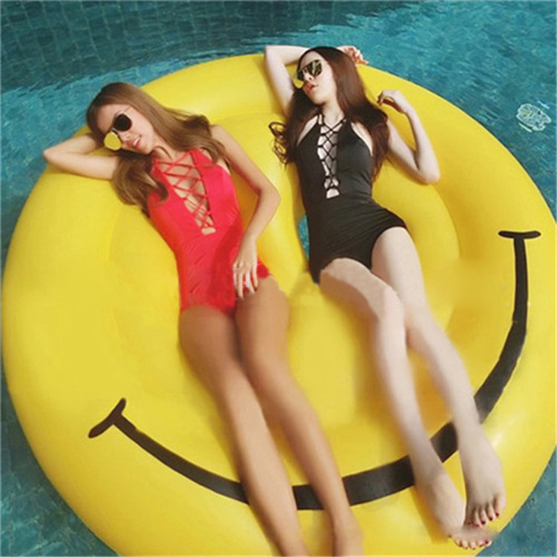 Button Smile Inflatable Floating Board Swimming Rings Floating Bed Water Air Mattresses Swimming Pool Float Island For Adults