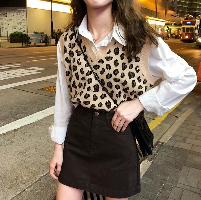 New Leopard Vest Knitted Female Vintage Oversize Spring Autumn Women Vest Wool Sweater Vests Poullovers Sleeveless Female Vest